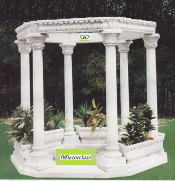 GAZEBO 250X280X280 CM WITH WHITE CEMENT H 5 PLANTERS
