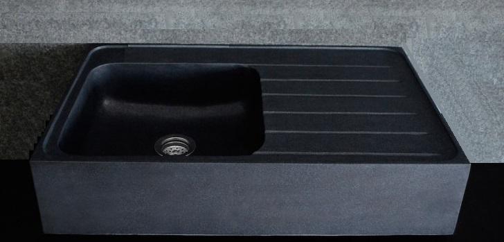 umywalka betonu polerowanego czarnego i polerowane cm 80X50X20H