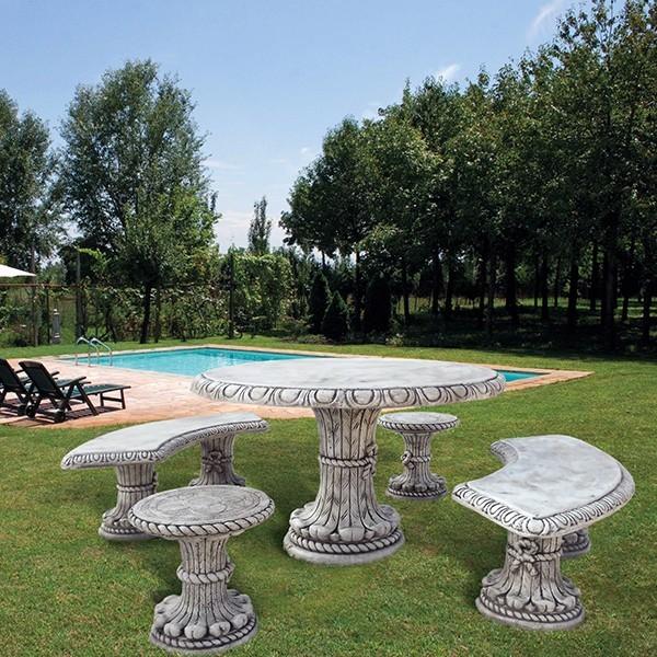 Tavoli Da Giardino In Cemento.Tavolo Tondo In Cemento Bianco Cm 130x80h Con 2 Sgabelli E Due